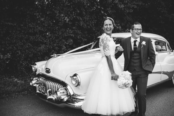 50s Vintage Styled wedding in essex. bride and groom with vintage car