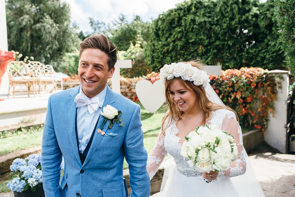 Stylish bride and groom at a bristol garden party wedding