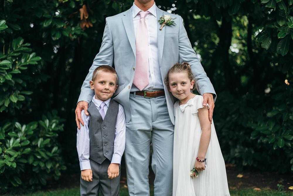 groom and children at reid rooms wedding
