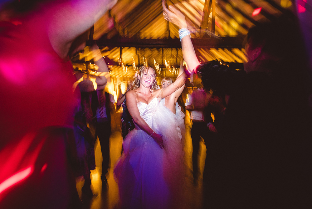 Bride and party dancing at wedding reception at the reid rooms