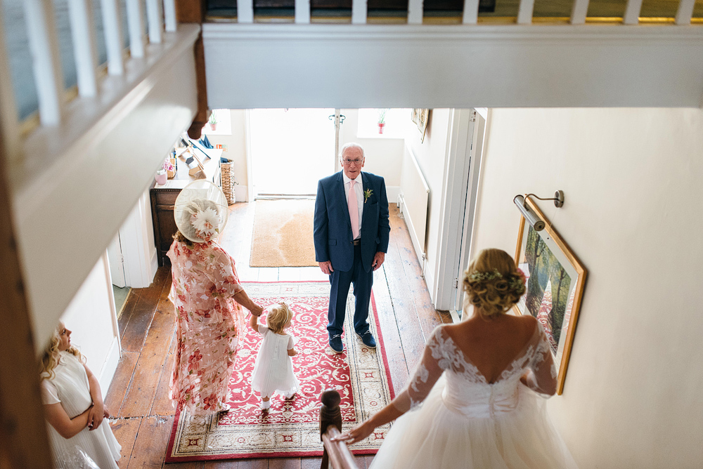Father seeing bride in wedding dress