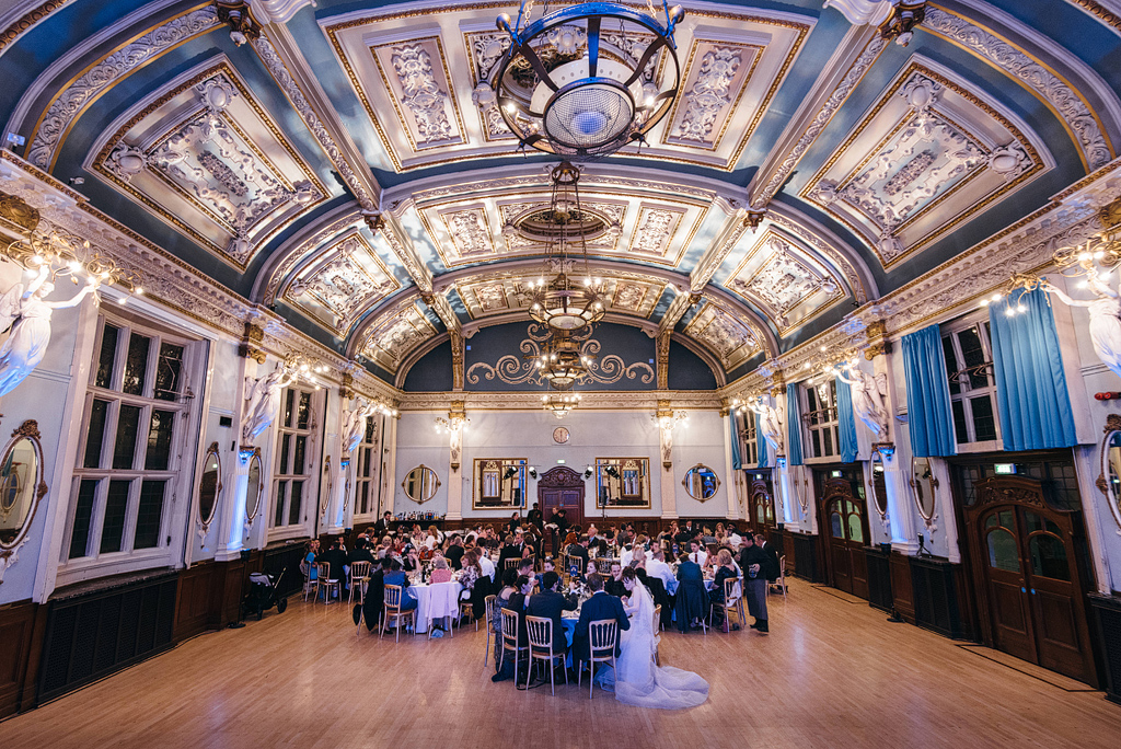 Wedding reception with guests at Finsbury Town Hall