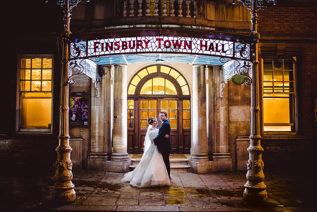 Bride and groom outside Finsbury Town Hall