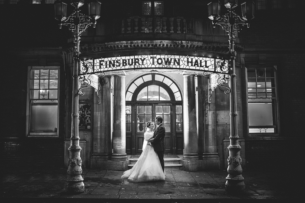 Bride and groom outside Finsbury Town Hall entrance