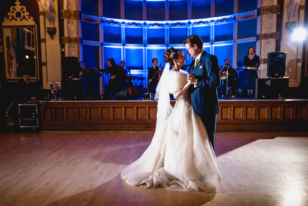 Bride and groom share first dance together