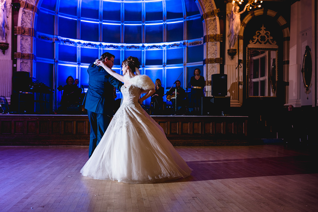 Bride and groom having first dance together