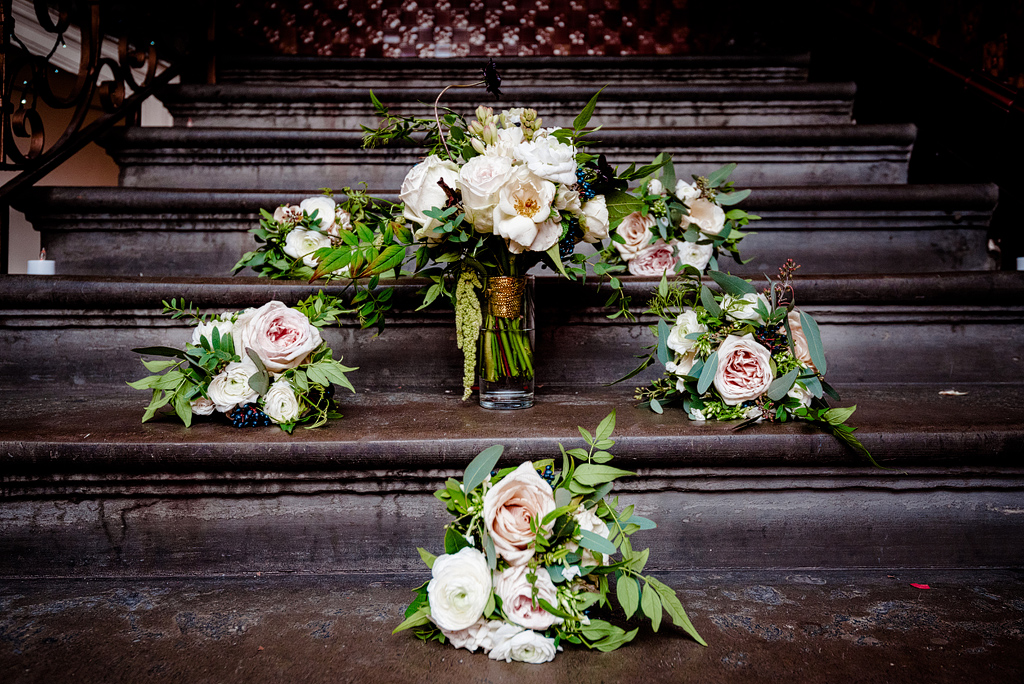 Wedding bouquets on stairs