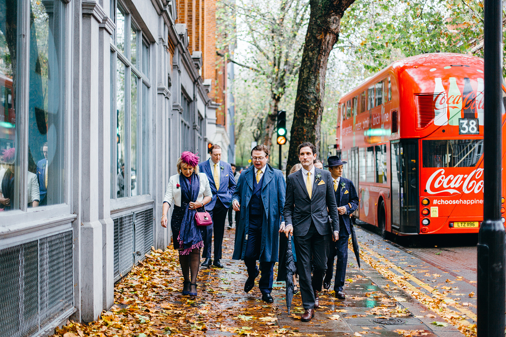 Wedding guests walking to ceremony