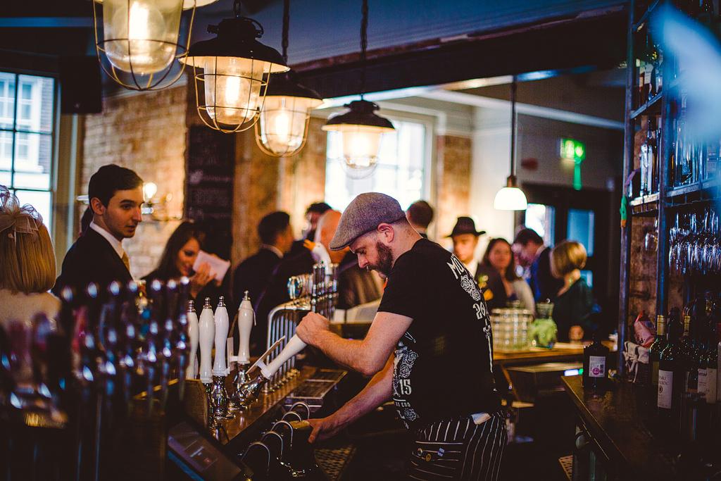 Bartender making drinks for wedding guests