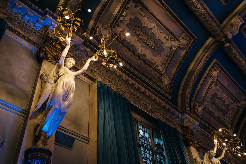 Interior angels hanging fixtures, Finsbury Town Hall