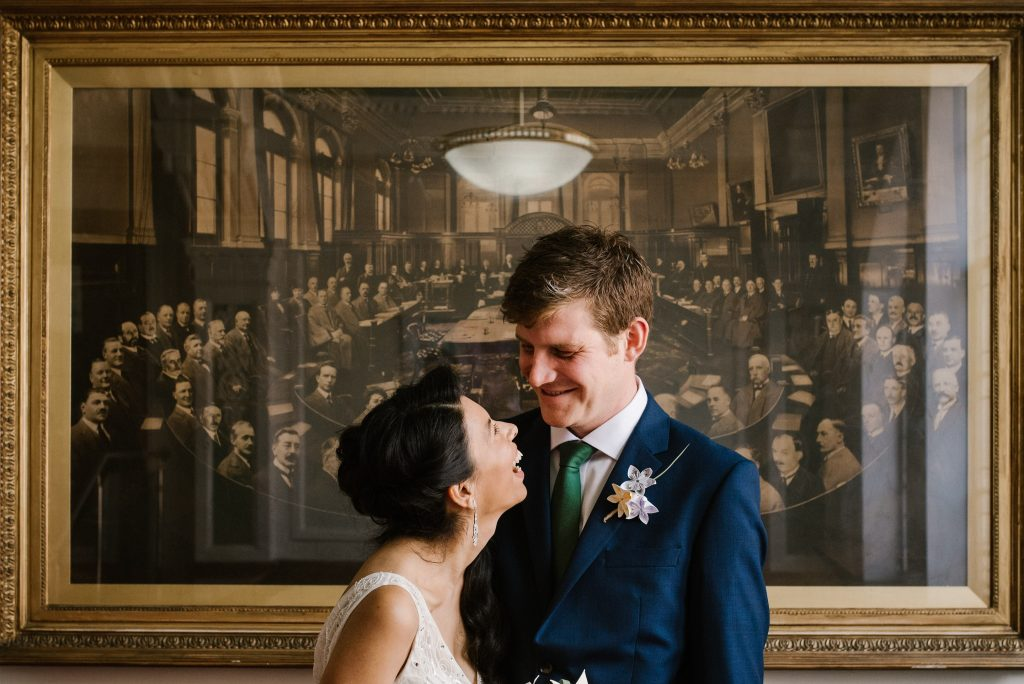 Islington Town Hall London Wedding the Easton Pub just married bride and groom