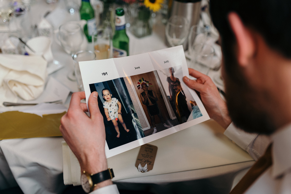 Wedding guest looks at 3 dated funny photos