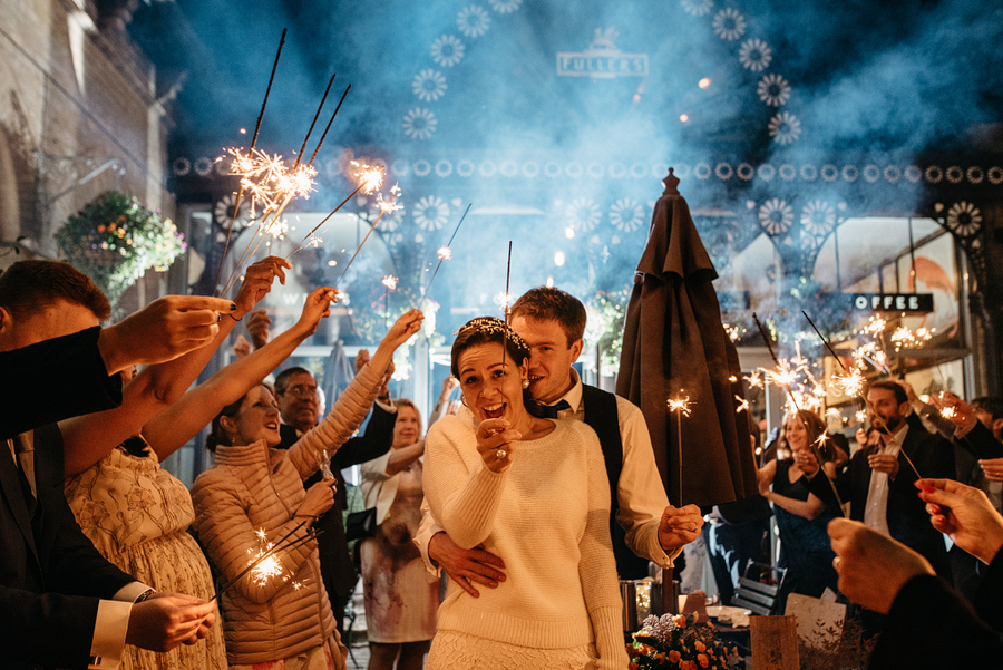 London Wedding Sparkler Exit at Tap on the line